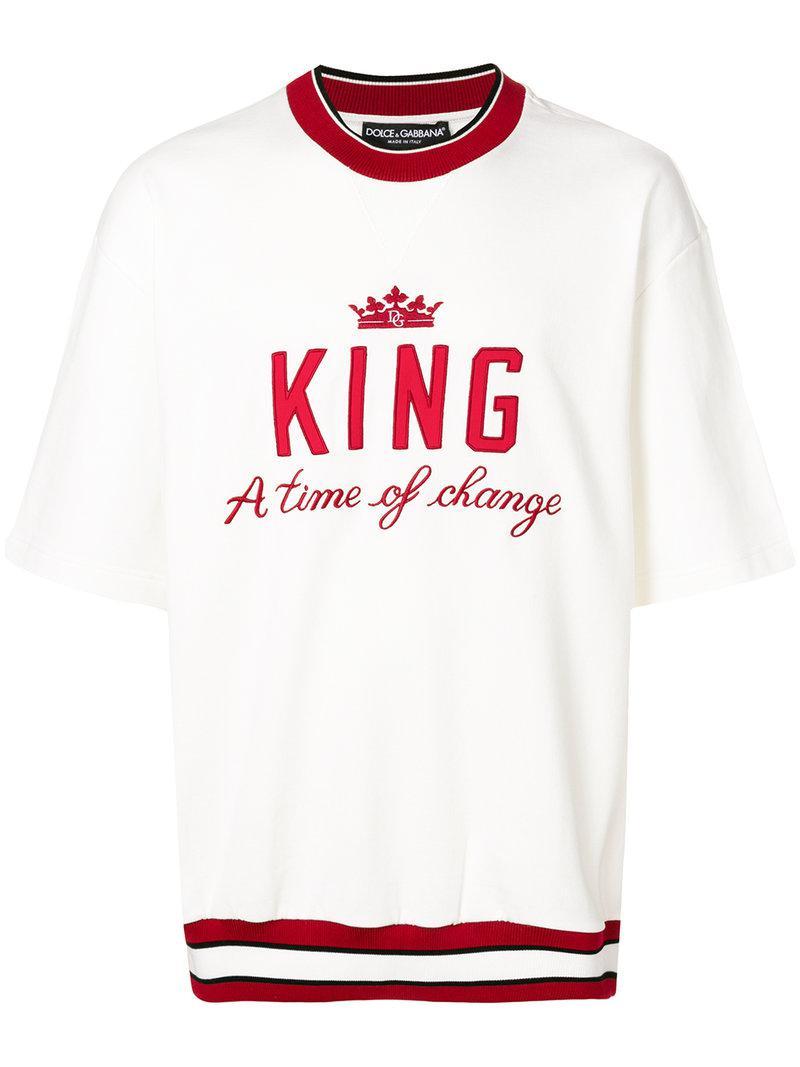 9a77e22c Dolce & Gabbana King Sweatshirt in White for Men - Lyst