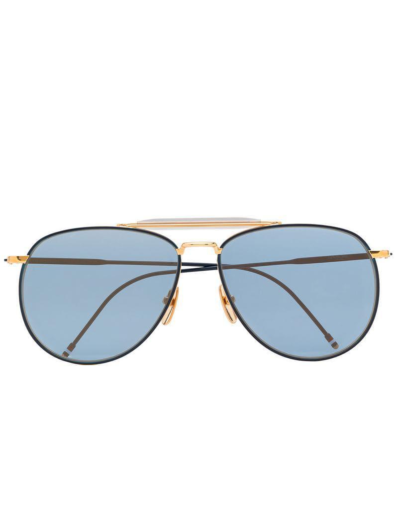ce403d8ceecf Thom Browne. Men s Navy Blue And Gold Metallic 907 Aviator Sunglasses