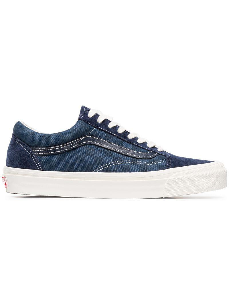 73058a7ab7 Vans Blue Og Old Skool Suede Check Cotton Sneakers in Blue for Men ...