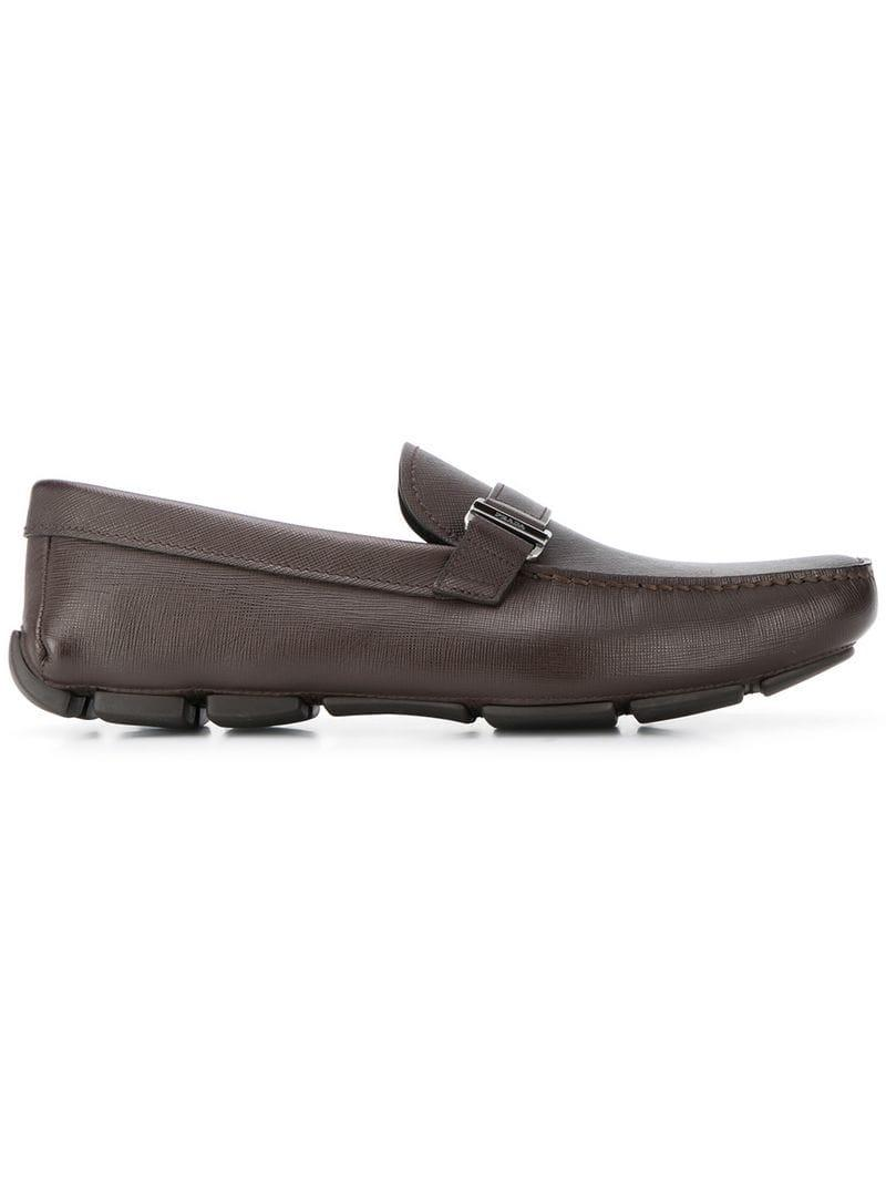 ddb180a7581 Lyst - Prada Saffiano Loafers in Brown for Men
