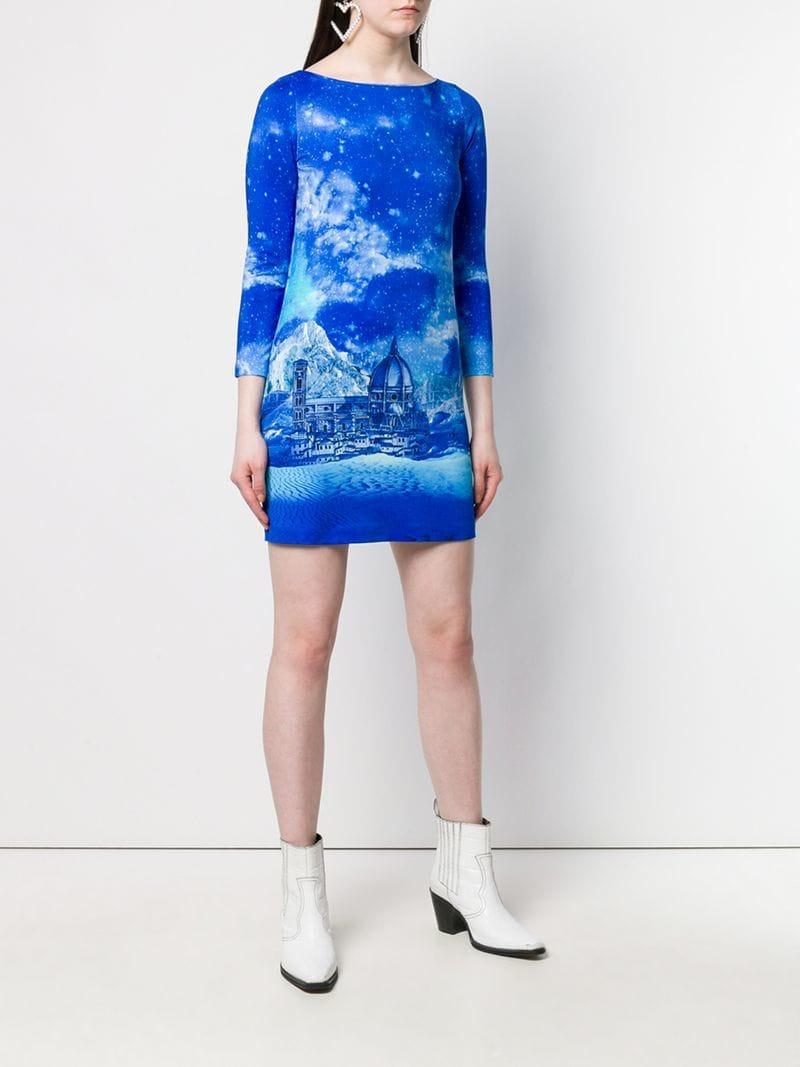 Lyst - Just Cavalli Night Sky Dress in Blue 13d84b5ff