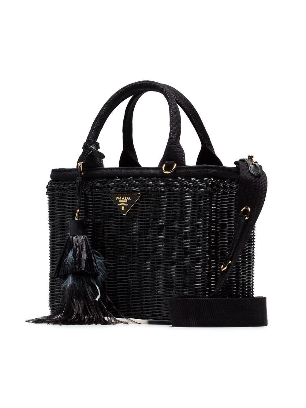 Prada Black Canvas And Wicker Woven Bag in Black - Lyst 7cfa88cd11a13