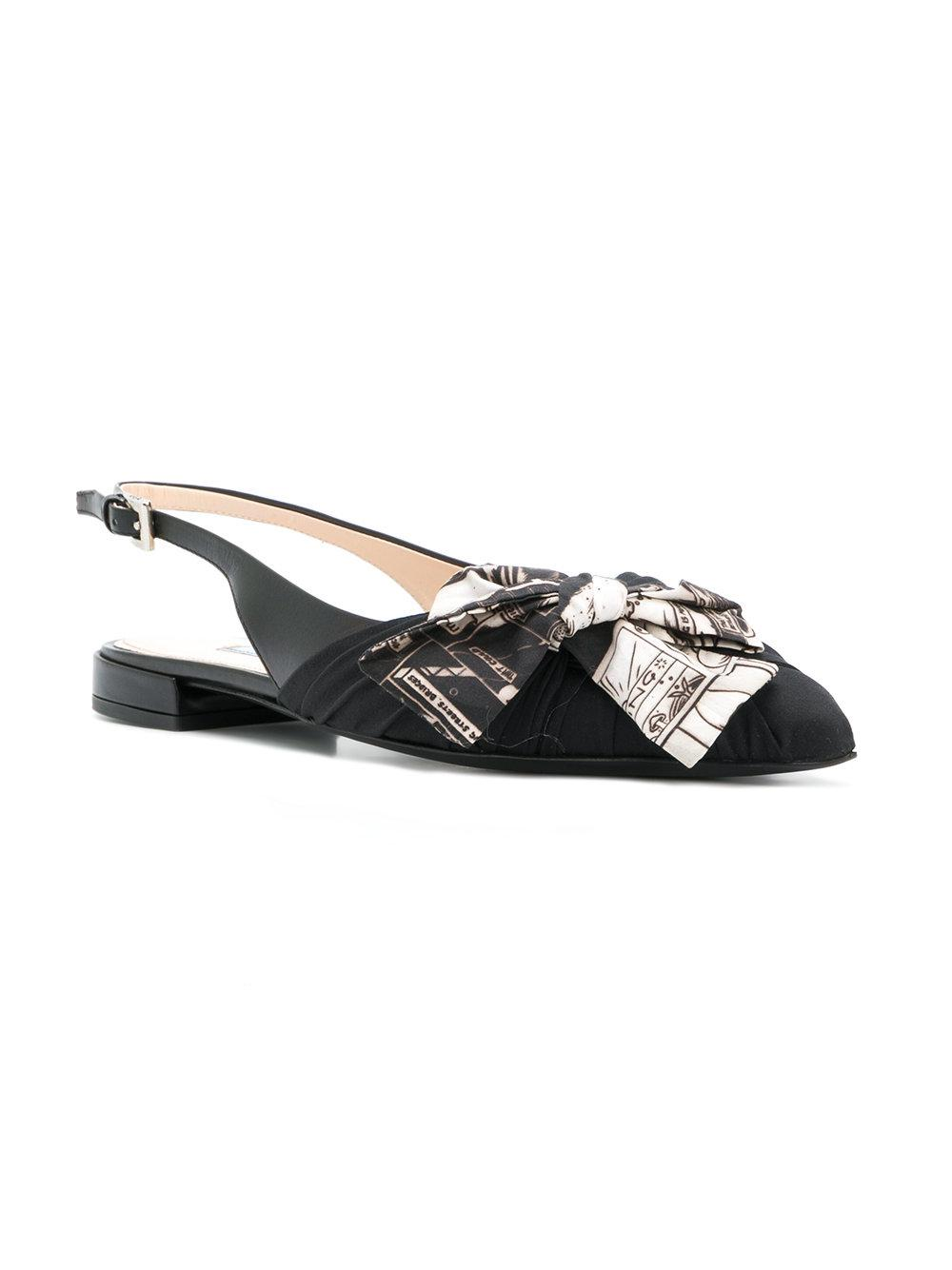slingback bow sandals - Black Prada