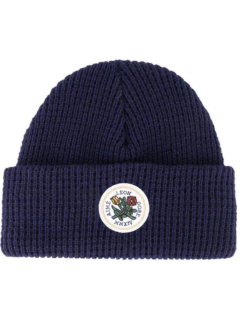Lyst - Aimé Leon Dore Logo Beanie in Blue for Men e2fac8dcc23b