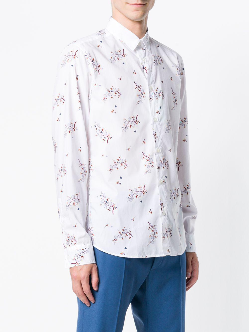 cf94e9debeacd KENZO - White  cheongsam Flower  Shirt for Men - Lyst. View fullscreen