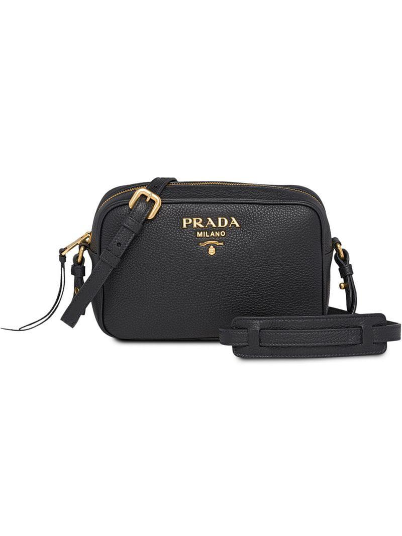 e14b6b73a9dc Lyst - Prada Pebbled Shoulder Bag in Black - Save 13.664122137404576%