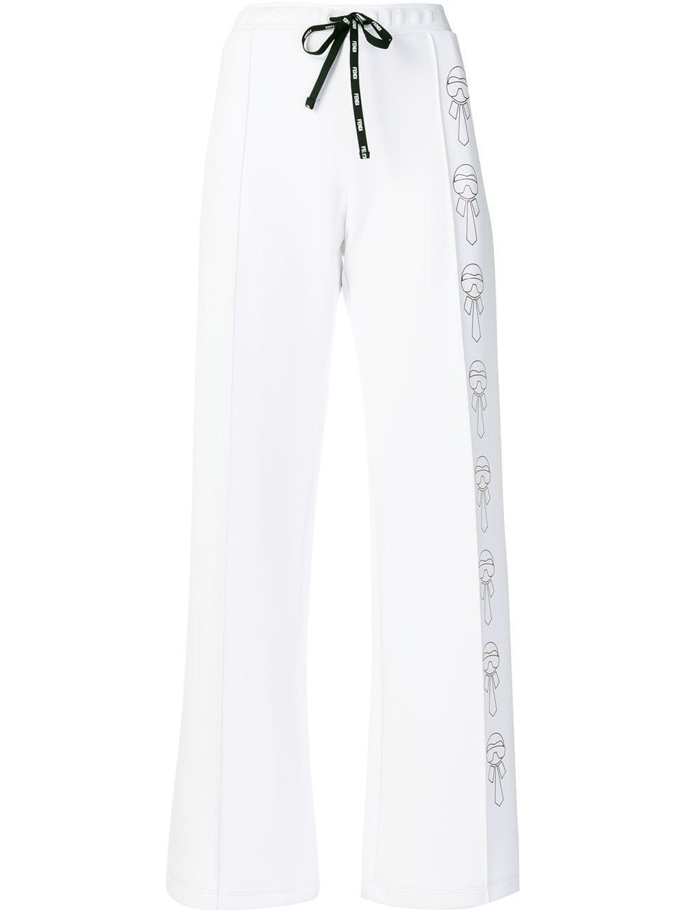 4678f7c4bb86dd Fendi - White Karl Motif Drawstring Trousers - Lyst. View fullscreen