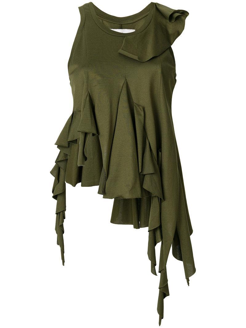 asymmetric ruffled T-shirt - Green Marques Almeida Buy Cheap Inexpensive vfGiq8I
