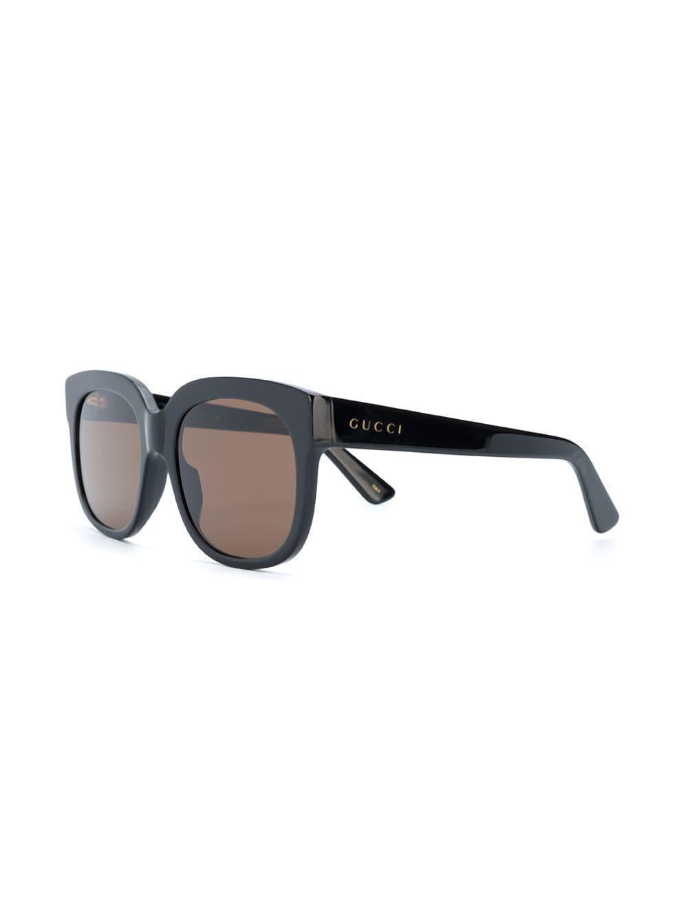 43aa901110b Gucci Square Sunglasses in Black - Lyst