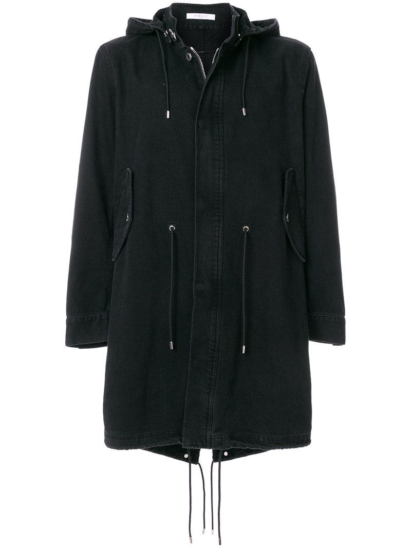 Givenchy Drawstring Parka Coat in Black for Men | Lyst