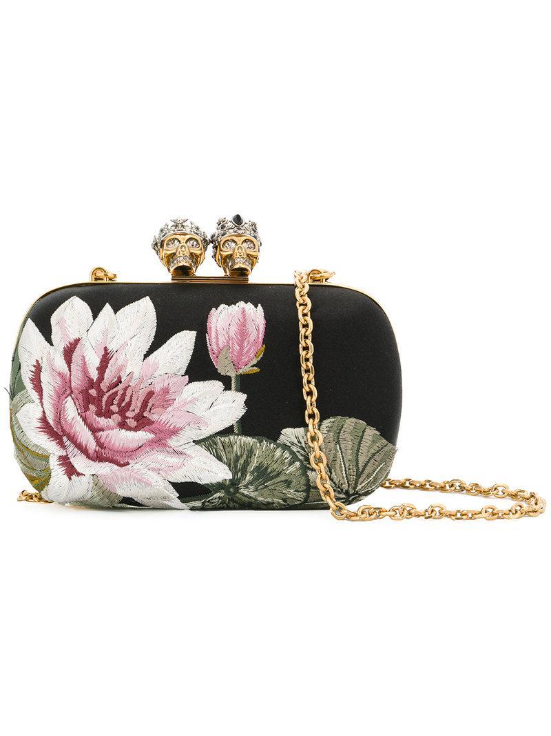 Lyst - Alexander Mcqueen Floral Embroidered Satin Clutch In Black