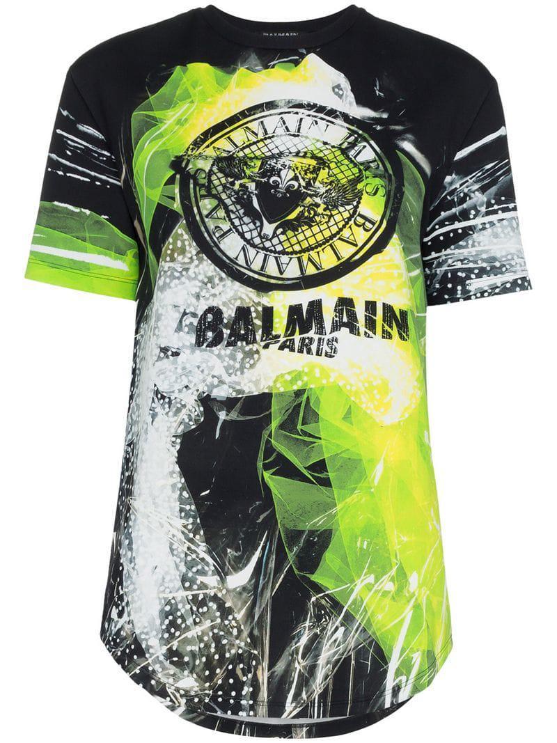 b810476b870e4b Balmain Graphic Logo Print T-shirt in Black - Lyst