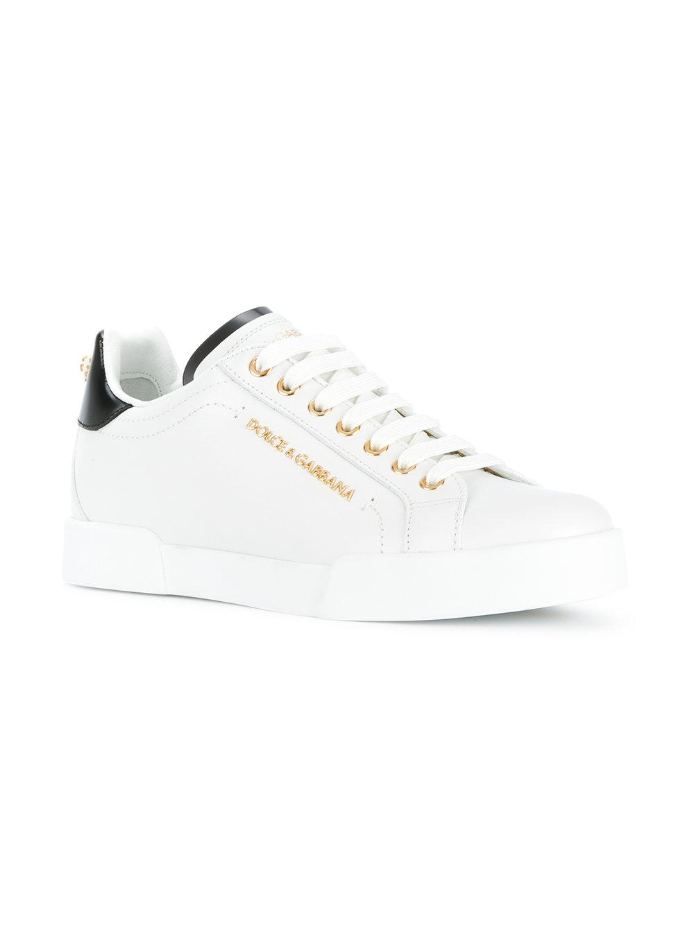 1c14aebcdbf Lyst - Dolce   Gabbana Two-tone Logo Sneakers in White - Save 11%