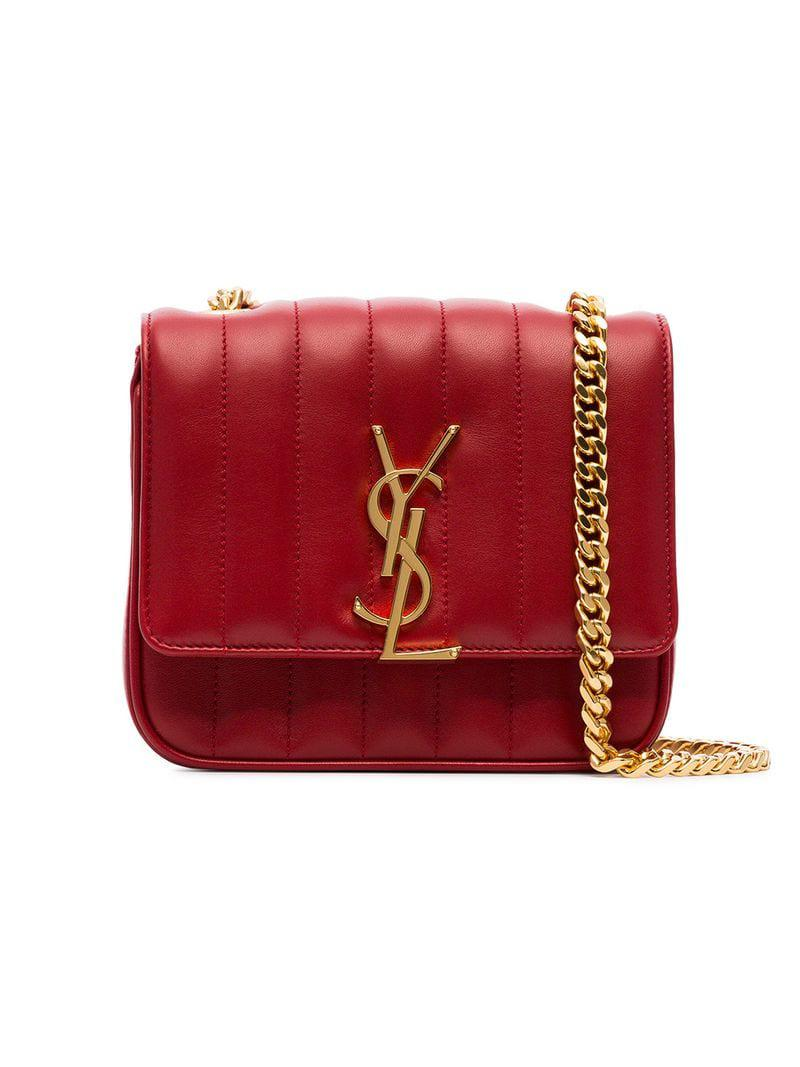 74f52a3f510d Lyst - Saint Laurent Red Vicky Small Quilted Leather Bag in Red