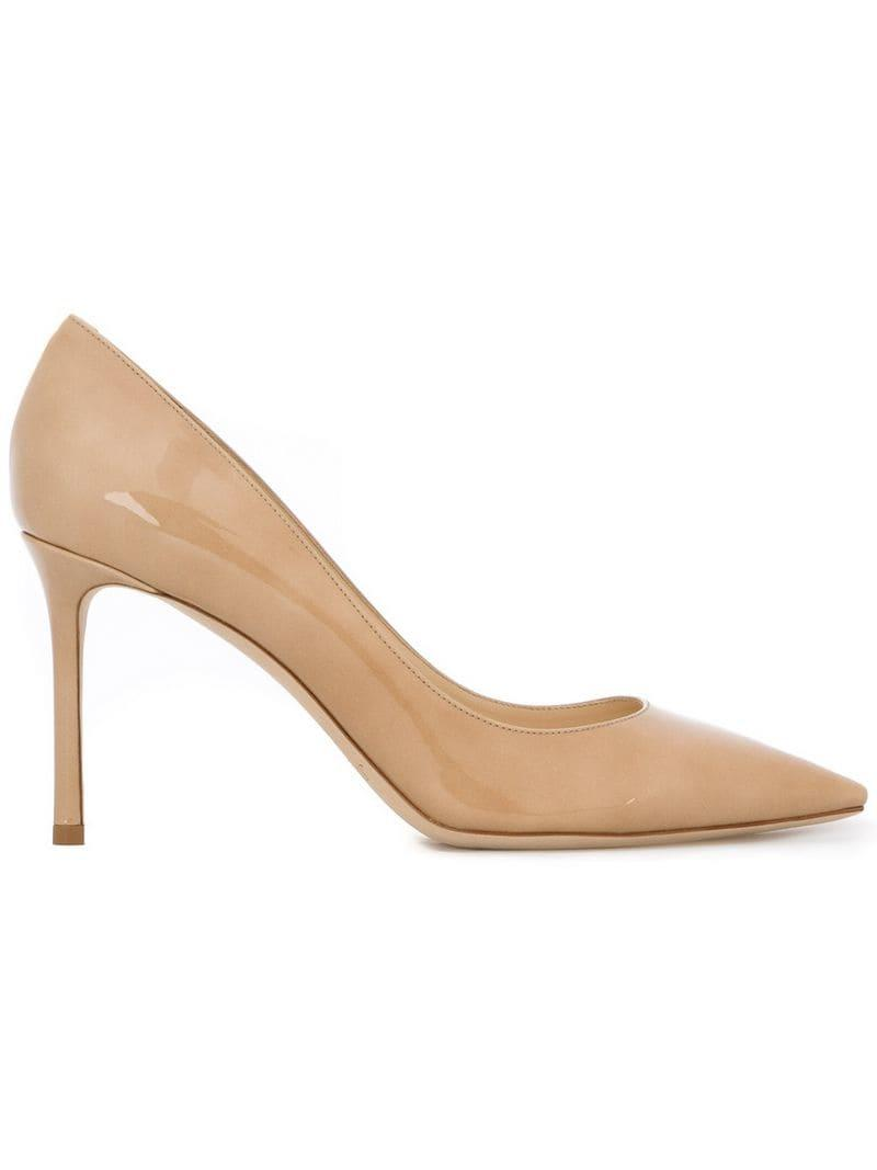 21183a2f9333 Lyst - Jimmy Choo Nude Romy 85 Patent Leather Pumps in Natural ...