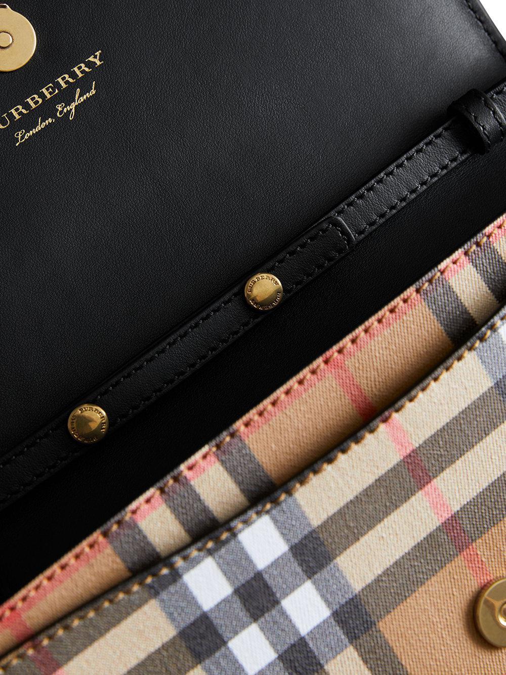 fdc6756f852d Lyst - Burberry Detachable Strap Vintage Check Leather Wallet