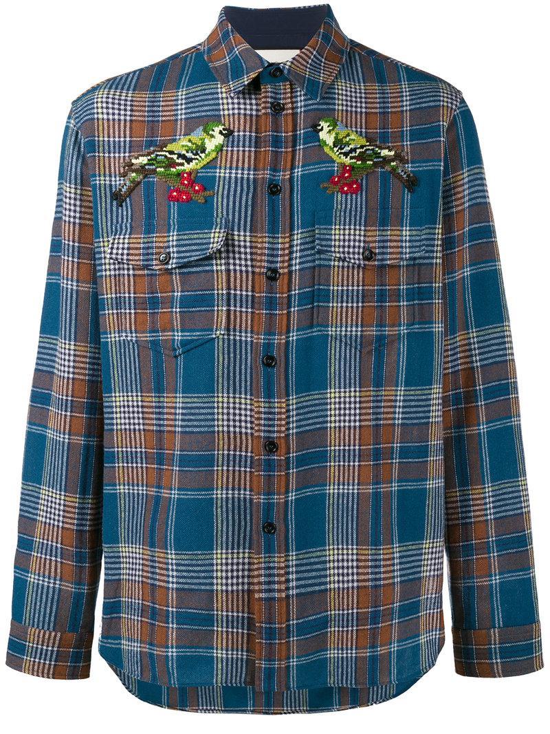 d4fefac4036 Lyst - Chemise à carreaux Gucci pour homme en coloris Bleu