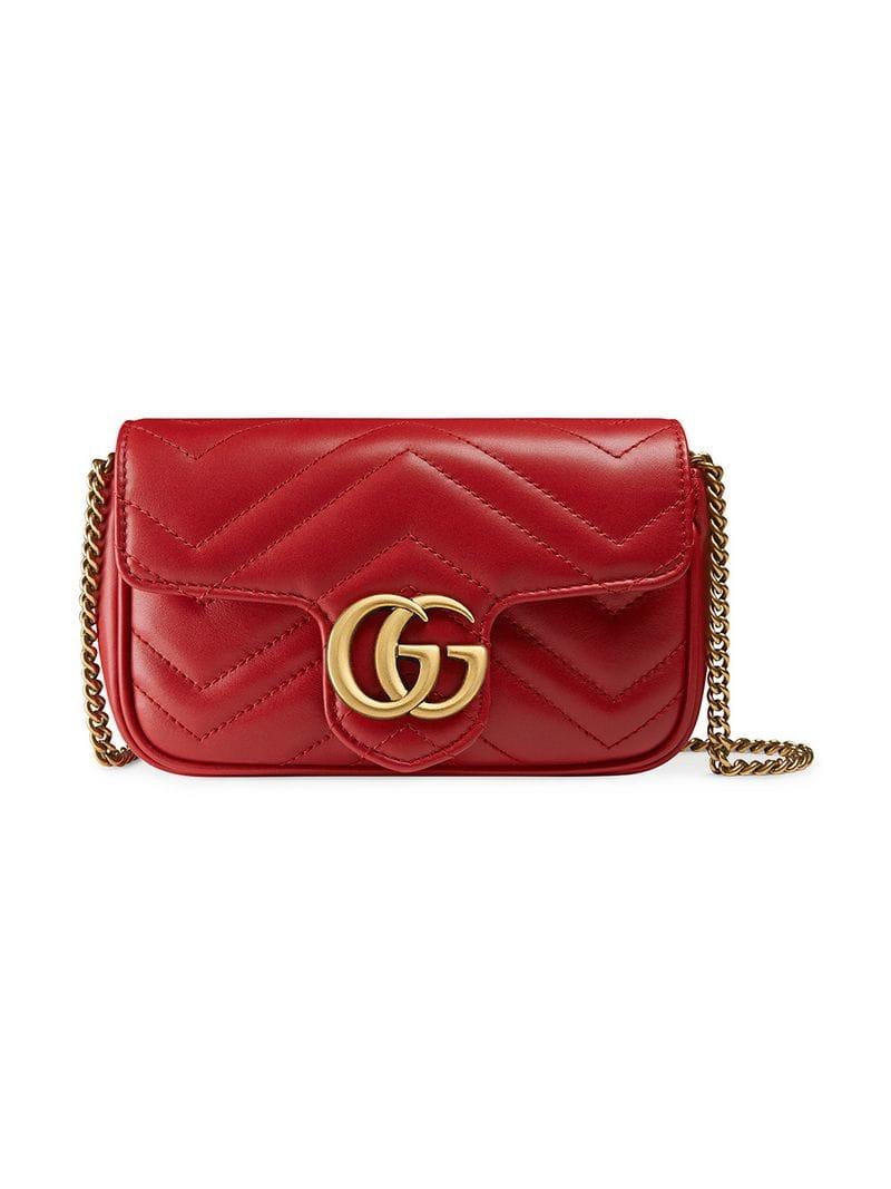 Lyst - Gucci Mini Borsa Gg Marmont In Pelle Matelassé in Red b1f1b20136f