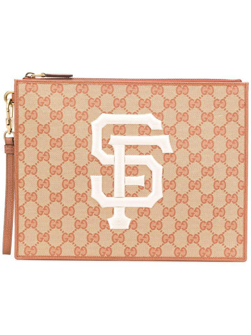 b5691995b196 Gucci GG Supreme Clutch Bag in Brown for Men - Lyst