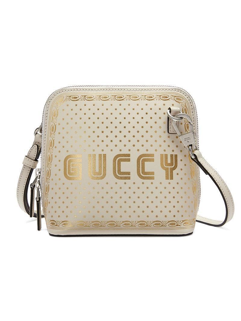 0be1ef1c8e1 Gucci Guccy Sega® Print Mini Shoulder Bag in White - Save 2% - Lyst