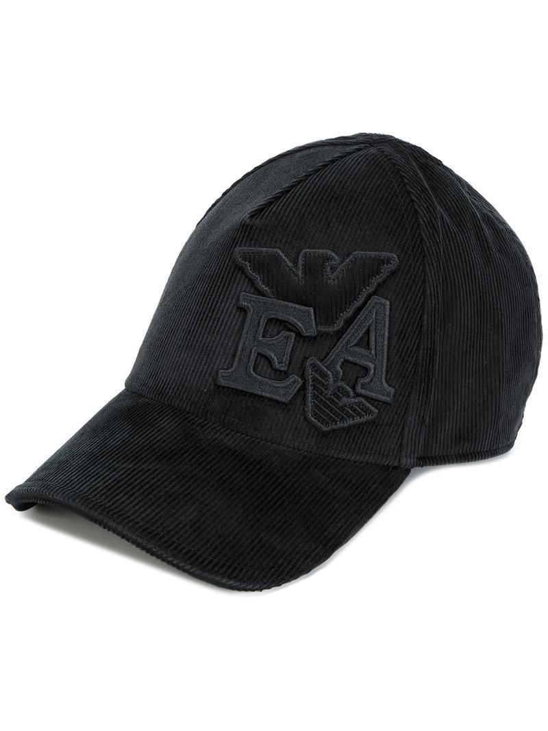 corduroy logo baseball cap - Black Emporio Armani 4q9l9M