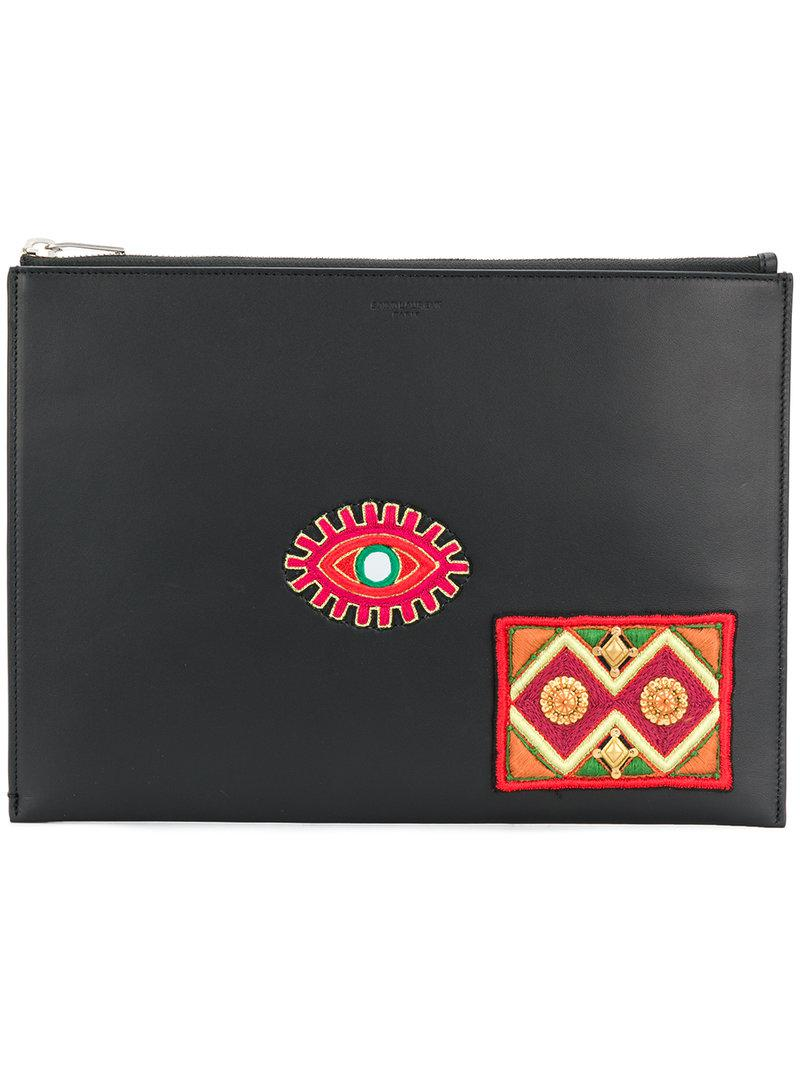 embroidered patch document holder - Black Saint Laurent