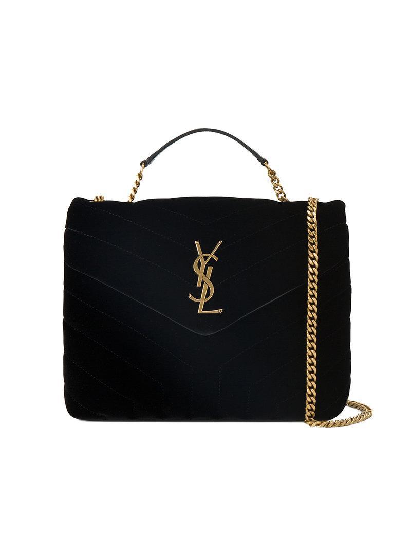 b5951870ba2c Lyst - Saint Laurent Small Black Loulou Monogram Velvet Bag in Black