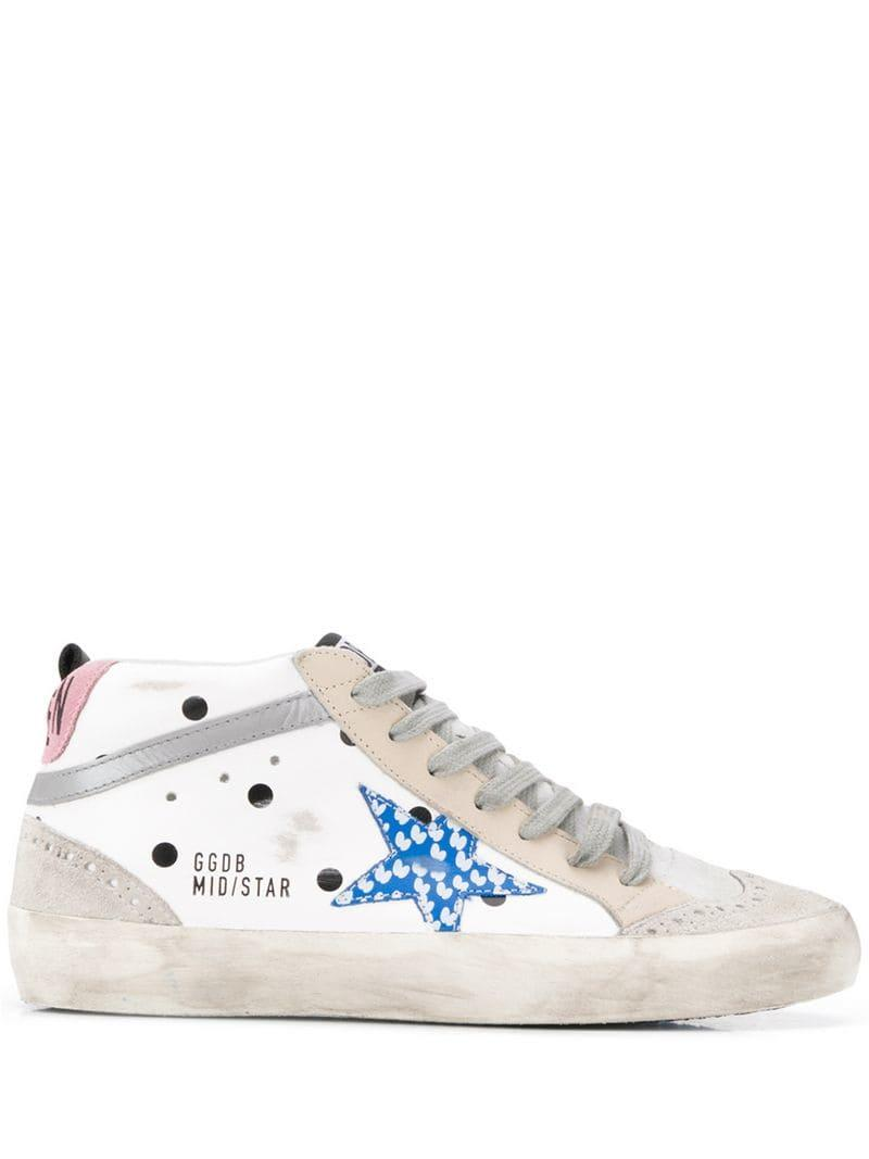6558424b2333 Lyst - Golden Goose Deluxe Brand Mid Star Patch Sneakers in White