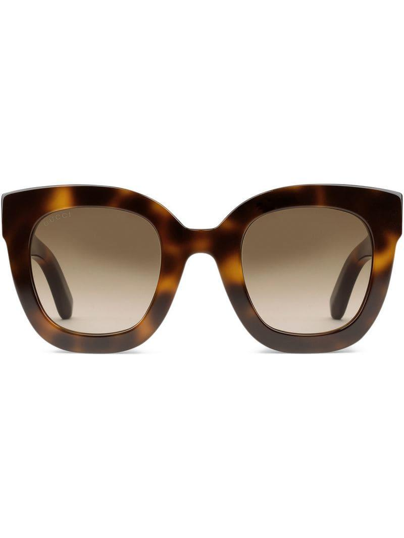 aa12a72d99d Gucci Round-frame Sunglasses in Brown - Lyst