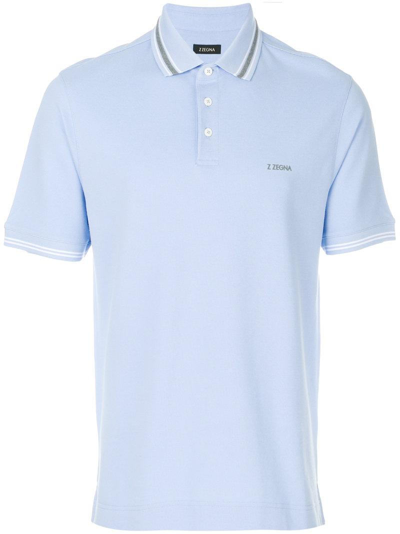 Lyst z zegna short sleeved polo shirt in blue for men for Zegna polo shirts sale