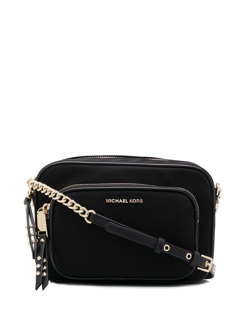 c65b2e261ab8 Lyst - MICHAEL Michael Kors Studded Strap Crossbody Bag in Black