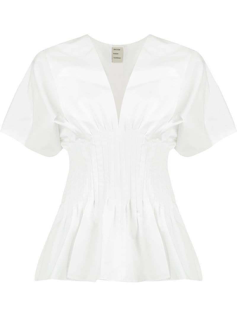 b4795016d497b Lyst - Maison Rabih Kayrouz Ruched Waist Blouse in White