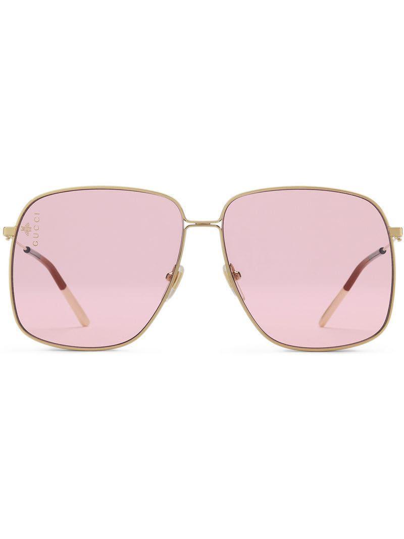 789c19fe698 Gucci Oversized Square-frame Sunglasses in Metallic - Lyst