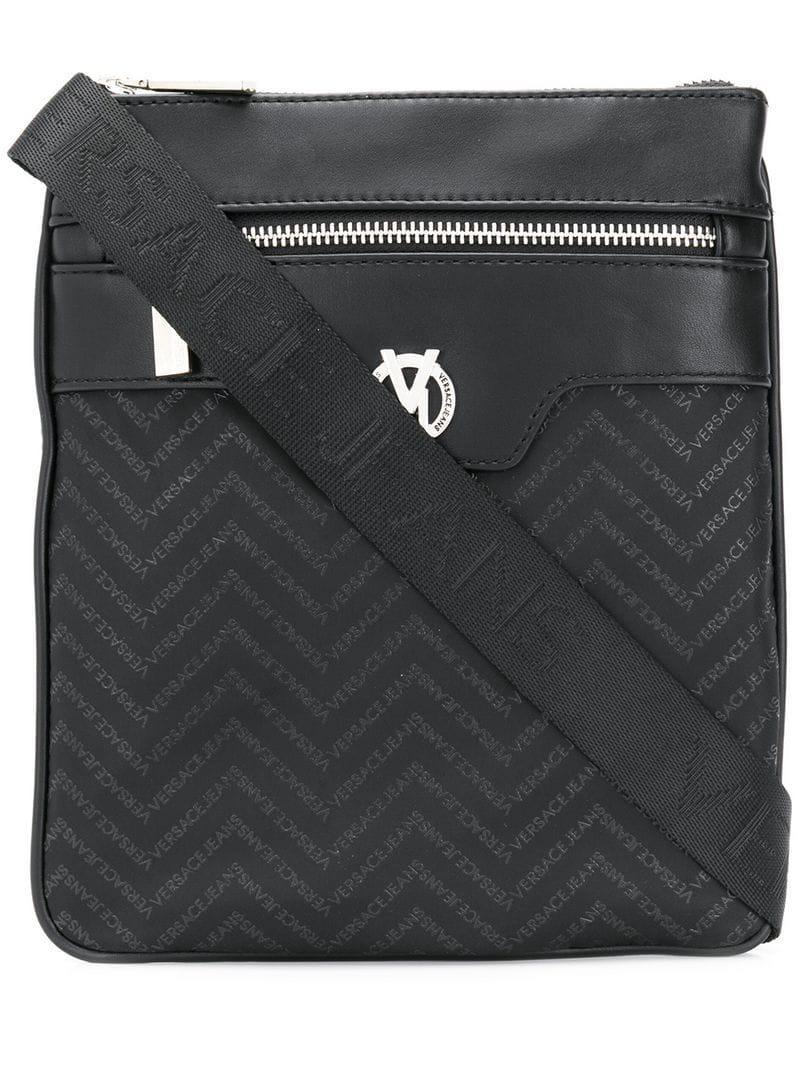 Versace Jeans - Black Logo Print Messenger Bag for Men - Lyst. View  fullscreen 05d814b433978