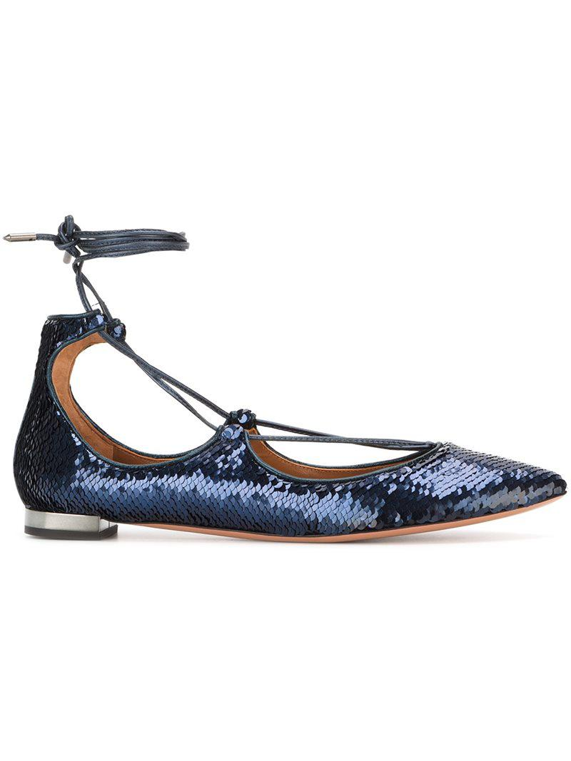 Aquazzura '' Christy Sequin Ballerines - Bleu nRdxcEb2Fq