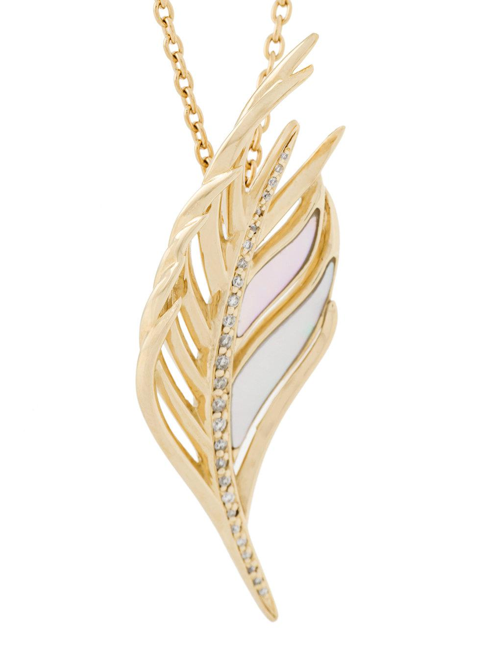 Shaun Leane White Feather diamond necklace - Metallic fiaZ81Tr