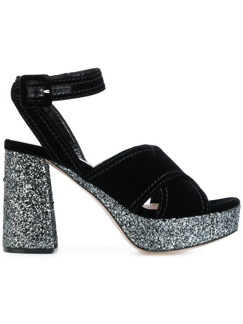 cfe6cedb8b6 Lyst - Miu Miu Glitter Platform Sandals in Black - Save 61%
