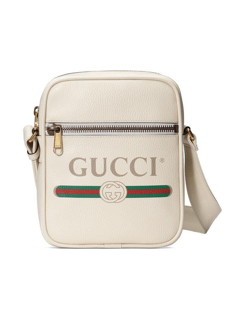 7cb3a57d2e0a Gucci - White Print Messenger Bag for Men - Lyst. View fullscreen