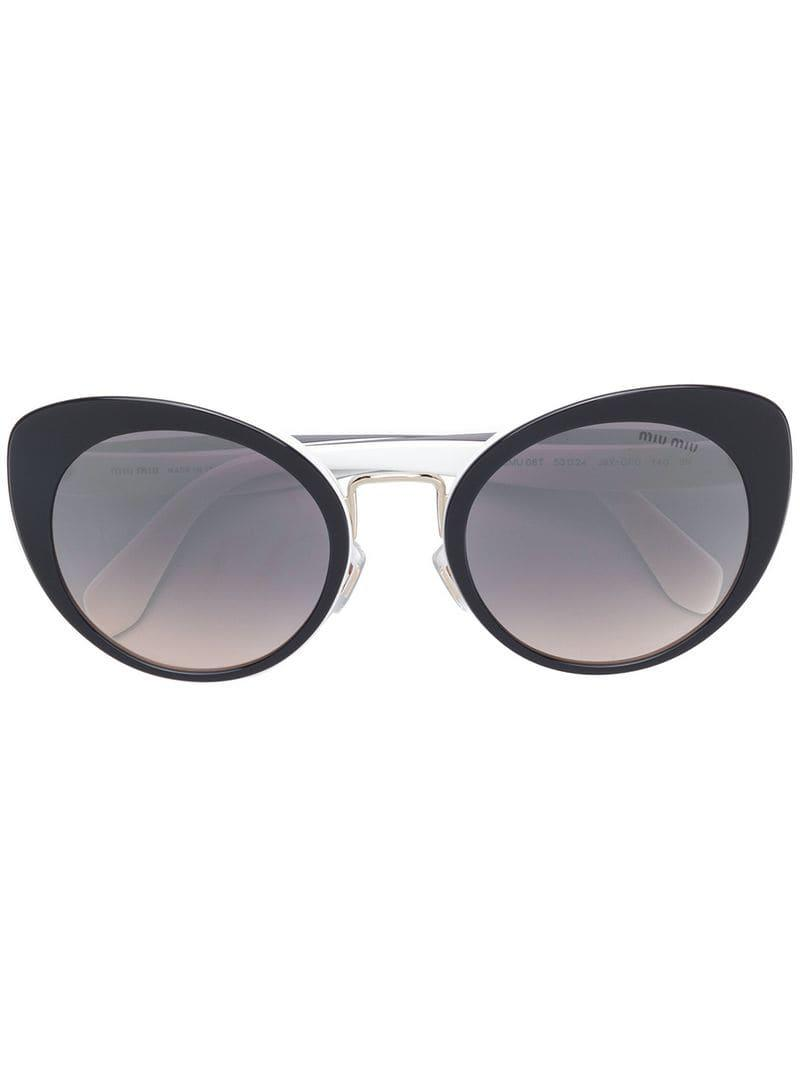 86b5f8524fc Miu Miu Cat-eye Frame Sunglasses in Black - Lyst