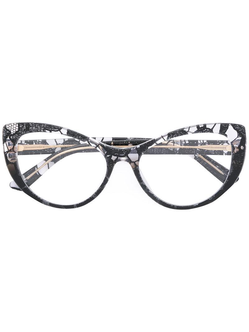 0896ef8236f3 Dolce   Gabbana Lace Cat-eye Glasses in Black - Lyst