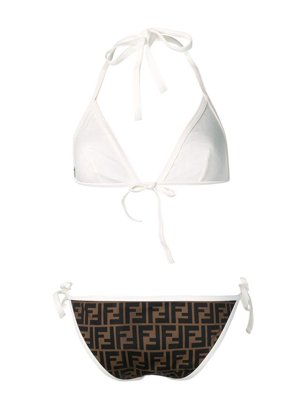 7d91bf360d Fendi Ff Logo Bikini Tobacco white in Brown - Lyst