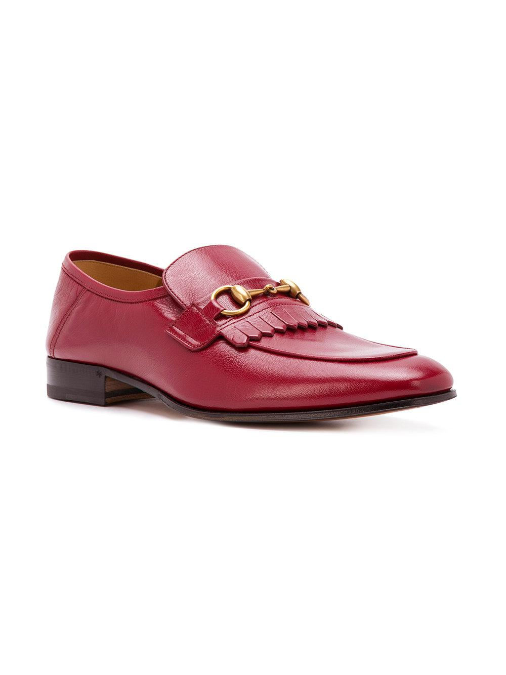 3de072e3118 Lyst - Gucci Horsebit Loafers in Red for Men