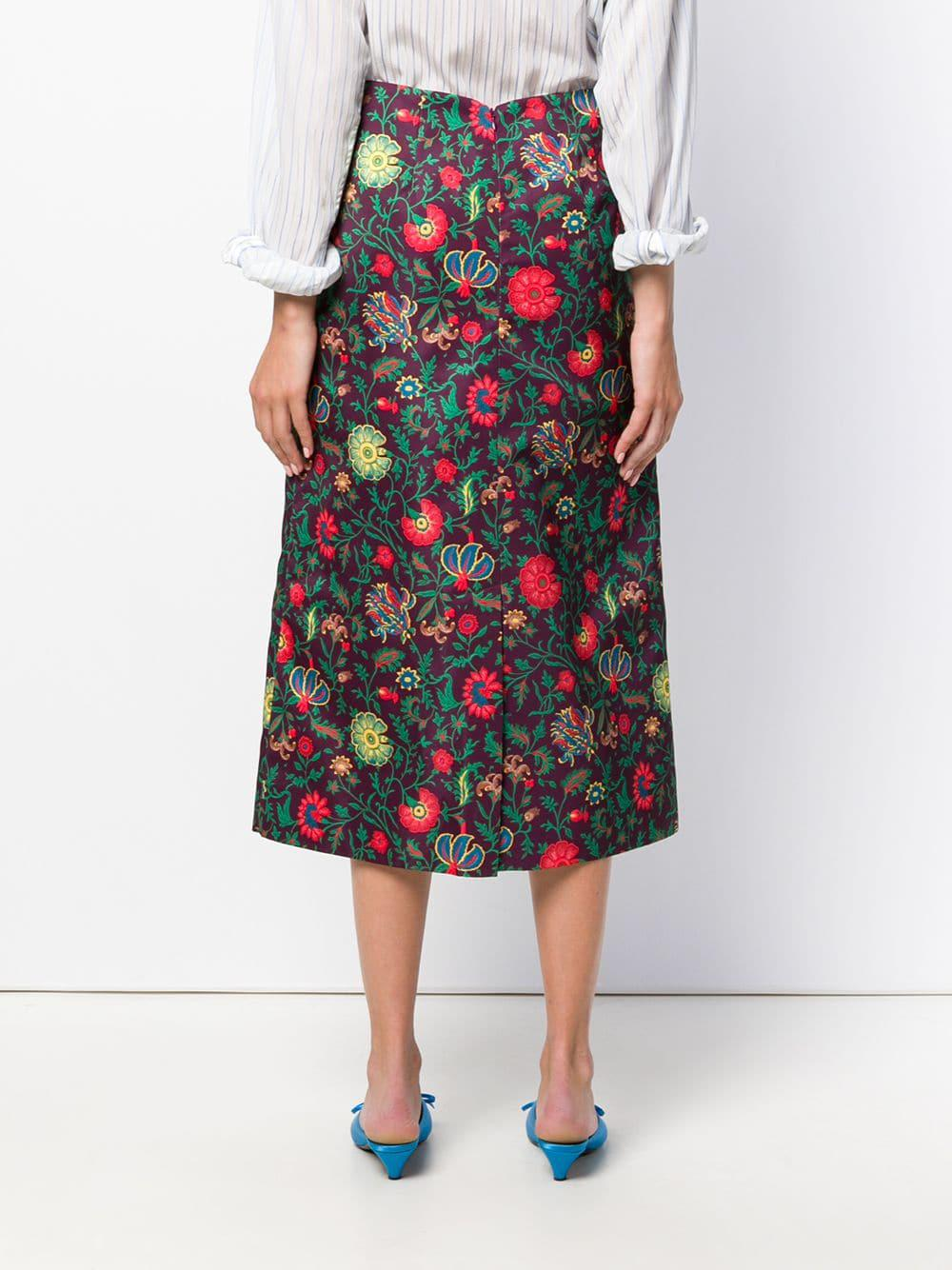 Lyst Ladoublej Dragon Flower Print Midi Skirt In Pink