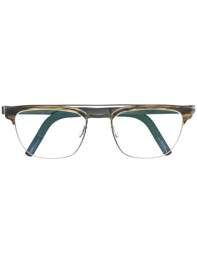 16f091d0112 Lindberg strip titanium square frame glasses in metallic lyst jpg 800x1067 Lindberg  titanium green square frame