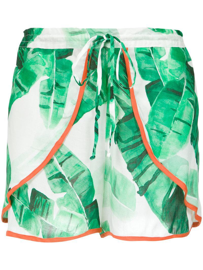 foliage print shorts - Green Brigitte XD9eORC