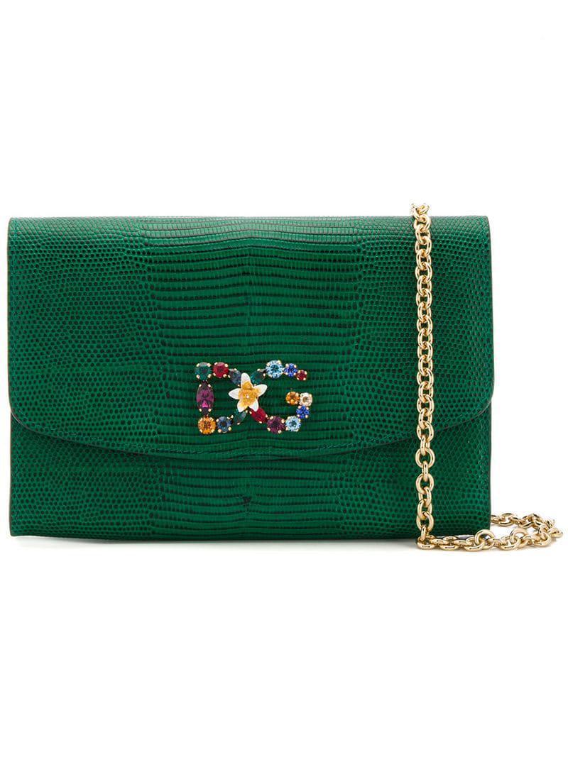 e3d9c8c149 Lyst - Dolce   Gabbana Dg Clutch Bag in Green