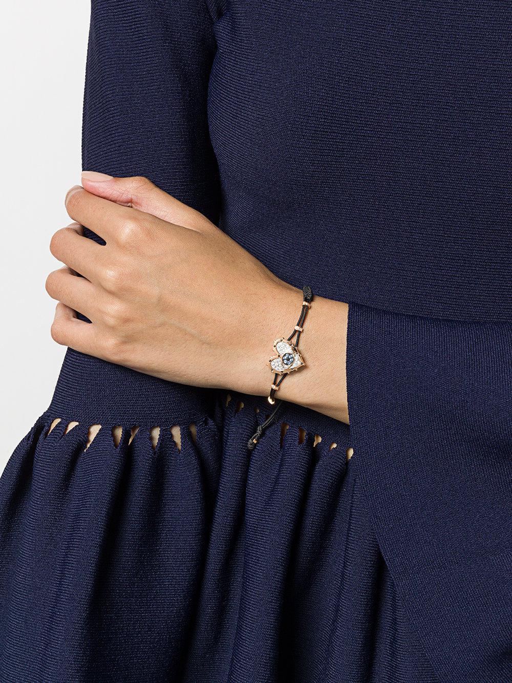 3a2d06f46 ... 18kt Rose Gold, Diamond And Sapphire Evil Eye Heart Charm Bracelet.  View fullscreen