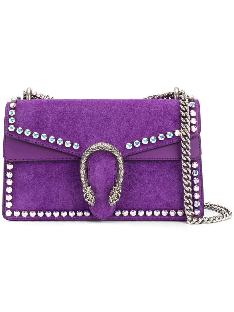 2e6a7655ef7 Lyst - Gucci Small Dionysus Crystal Shoulder Bag in Purple - Save 12%