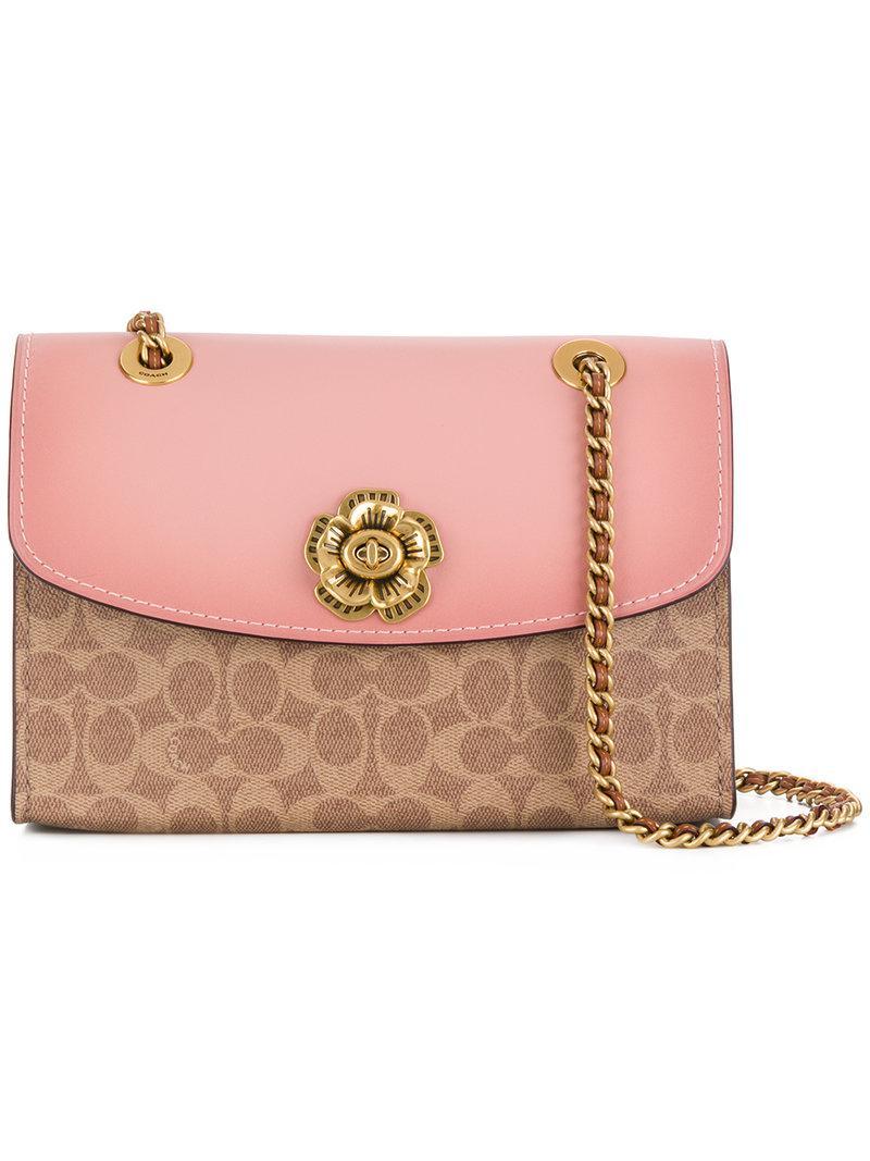 2cb8257a84 ... best price lyst coach parker bi colour bag in pink d9044 13f8b