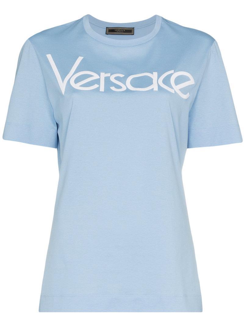 8563b1350 Versace - Blue Logo Print T-shirt - Lyst. View fullscreen